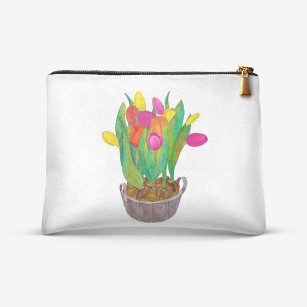 Косметичка «Кадка с яркими тюльпанами»