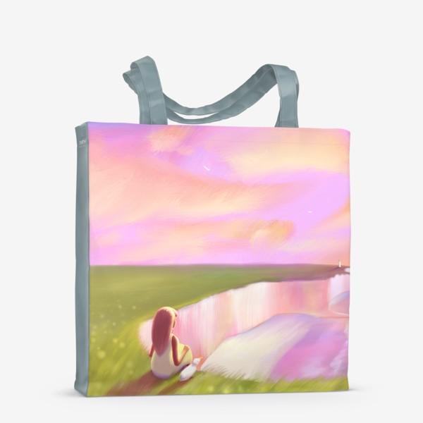 Сумка-шоппер «Закат в Этрета (девочка и чайка на утесе)»