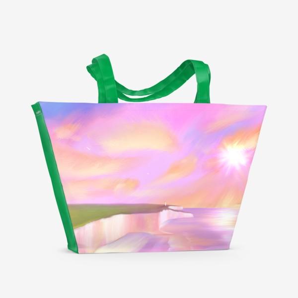 Пляжная сумка «Закат в Этрета (девочка и чайка на утесе)»
