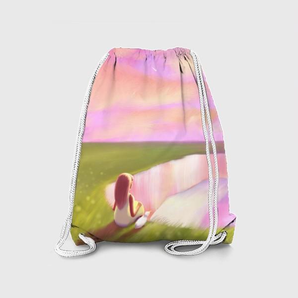 Рюкзак «Закат в Этрета (девочка и чайка на утесе)»