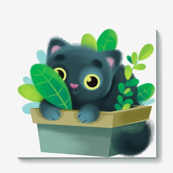 Холст «кот в цветах»