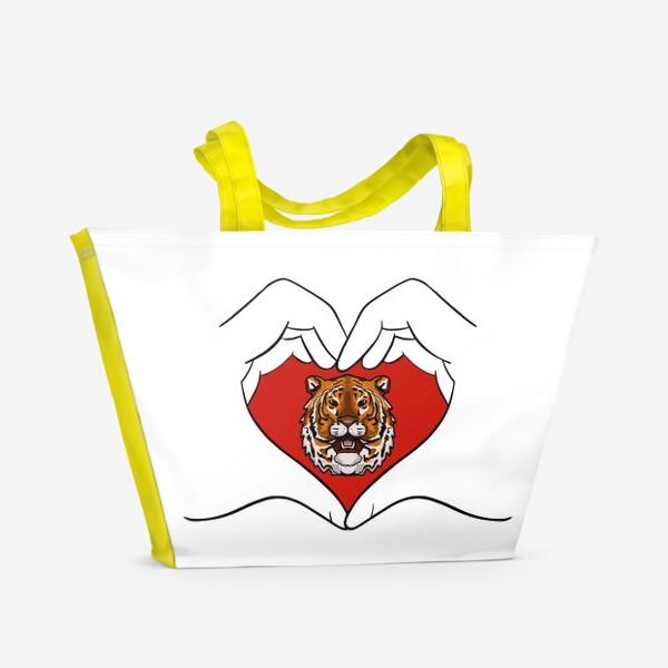 Пляжная сумка «Спаси амурского тигра »