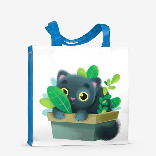 Сумка-шоппер «кот в цветах»