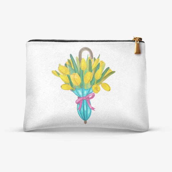Косметичка «Жёлтые тюльпаны в голубом зонтике»