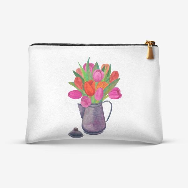 Косметичка «Кофейник с яркими тюльпанами»