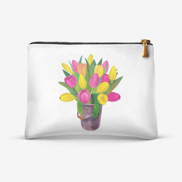 Косметичка «Яркие розовые, желтые и озовые тюльпаны в ведерке»