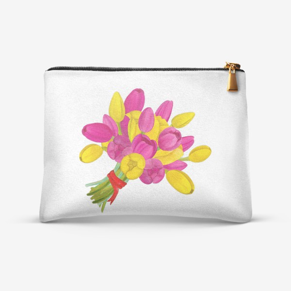 Косметичка «Букет ярких желтых и розовых тюльпанов»
