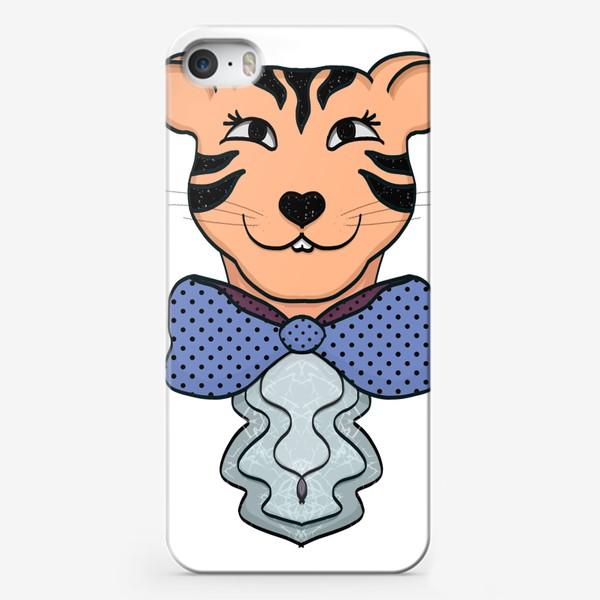 Чехол iPhone «Тигрица с синим бантом »