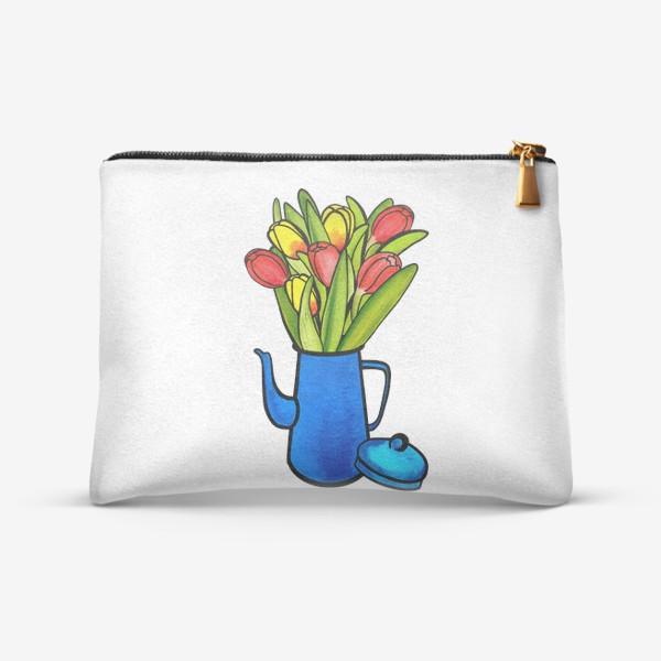 Косметичка «Яркие тюльпаны в синем кофейнике»