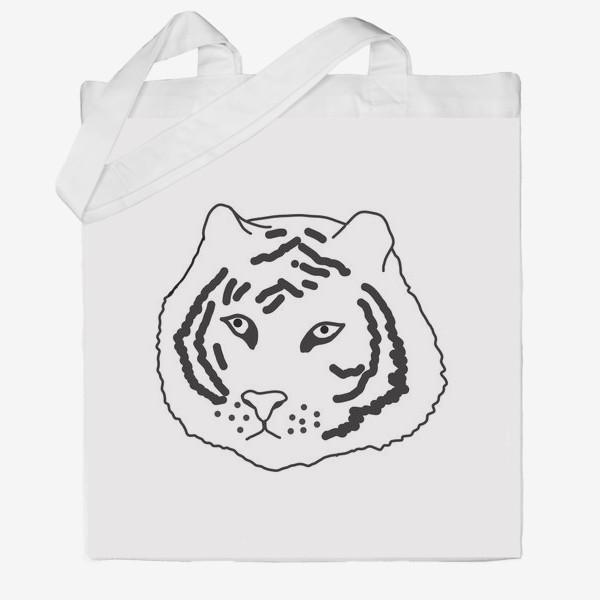 Сумка хб «тигр черно-белый»