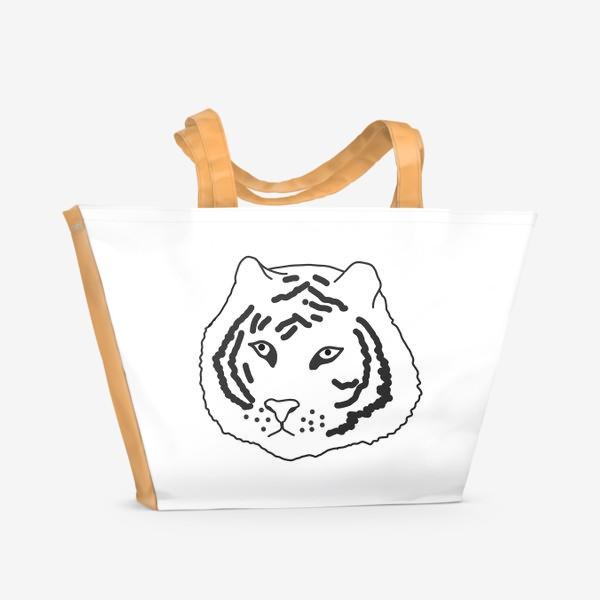 Пляжная сумка «тигр черно-белый»