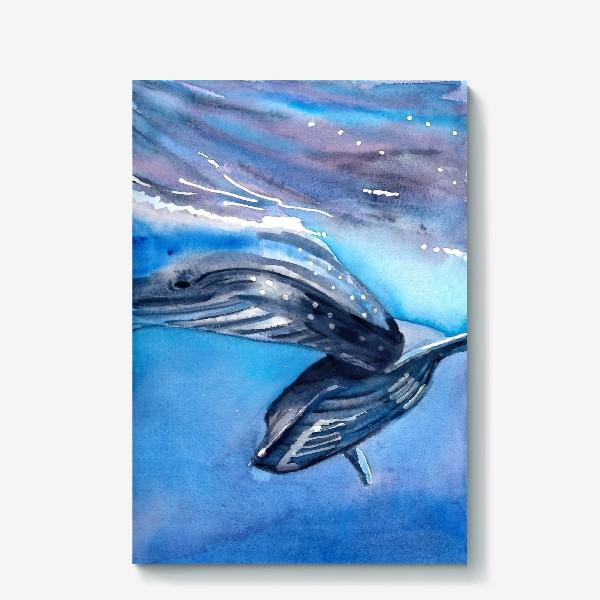 Холст «Два кита под водой. Акварель. Море.»