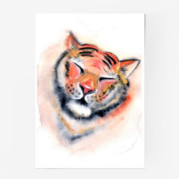 Постер «Тигр. Акварель. Удовольствие. Радость. Год тигра 2022.»