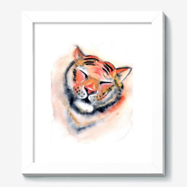 Картина «Тигр. Акварель. Удовольствие. Радость. Год тигра 2022.»