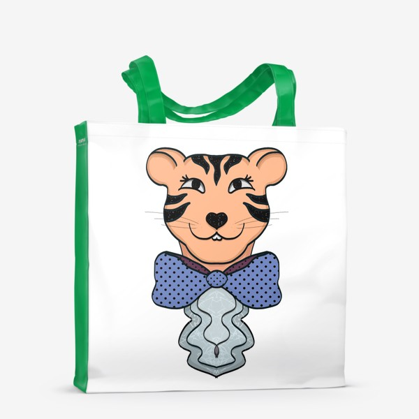 Сумка-шоппер «Тигрица с синим бантом »