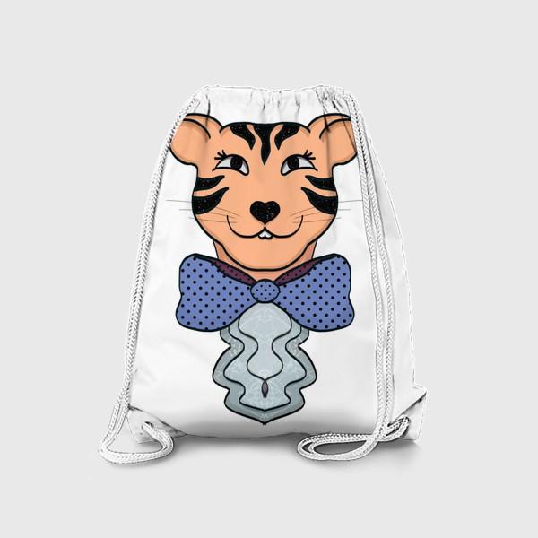 Рюкзак «Тигрица с синим бантом »