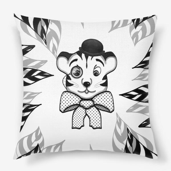 Подушка «Тигр в джунглях (джентльмен, листья)»