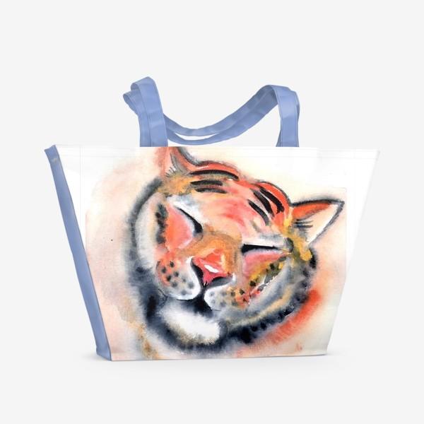 Пляжная сумка «Тигр. Акварель. Удовольствие. Радость. Год тигра 2022.»