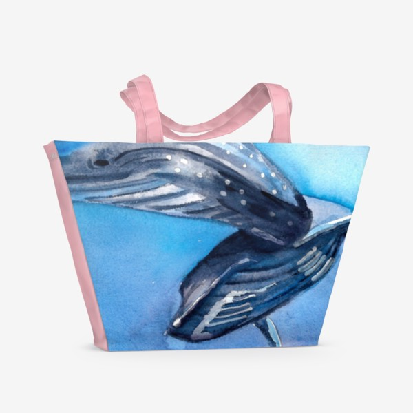 Пляжная сумка «Два кита под водой. Акварель. Море.»
