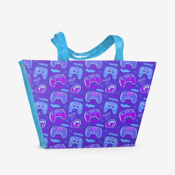 Пляжная сумка «Милый паттерн с джойстиками»
