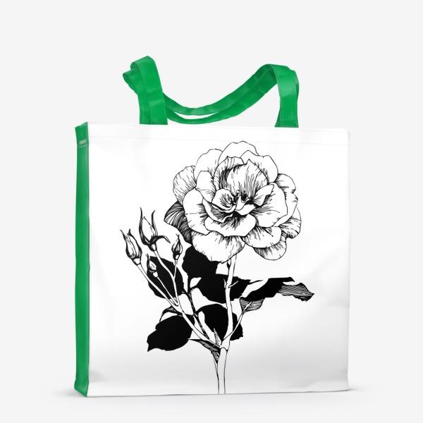 Сумка-шоппер «Роза. Черно-белая графика»