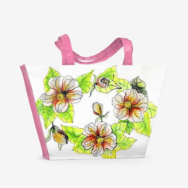 Пляжная сумка «Цветочный хоровод»