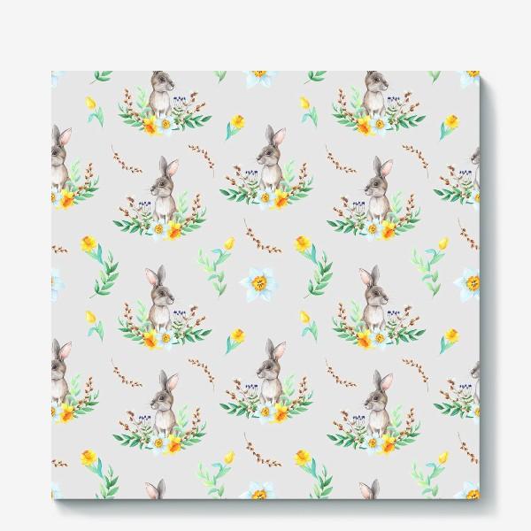 Холст «Весенний зайка в цветах и листьях»