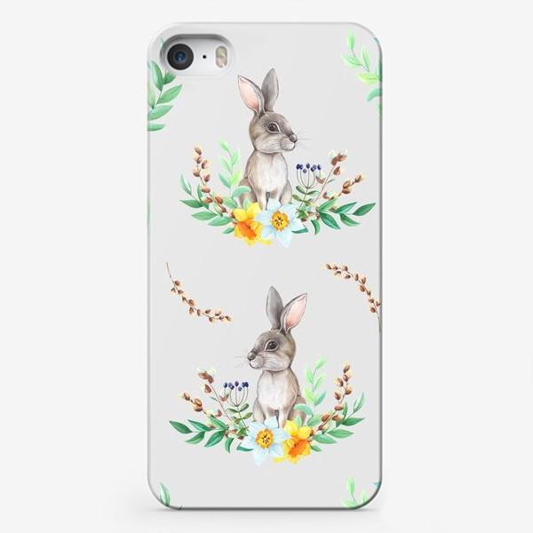 Чехол iPhone «Весенний зайка в цветах и листьях»