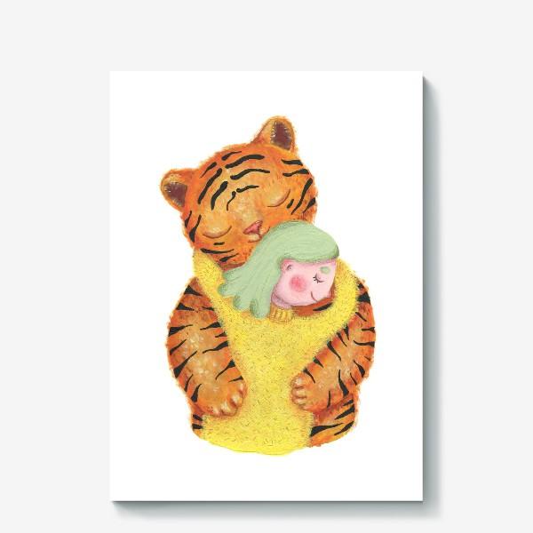 Холст «Год тигра. Новый год 2022. Подарок на новый год девушке, ребенку, любимому человеку, маме»