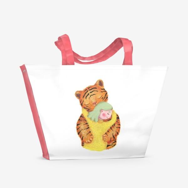 Пляжная сумка «Амурский тигр. Подарок эко активисту, защитнику животных, любителю природы, подарок девушке, подруге, ребенку»