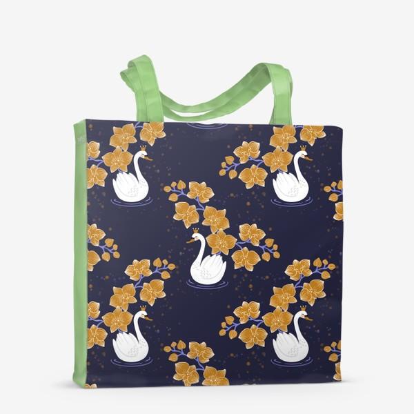 Сумка-шоппер «Лебедь с орхидеей »