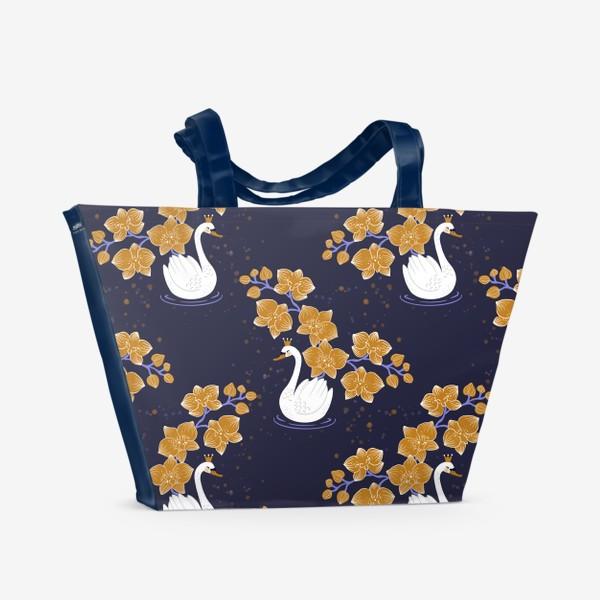 Пляжная сумка «Лебедь с орхидеей »