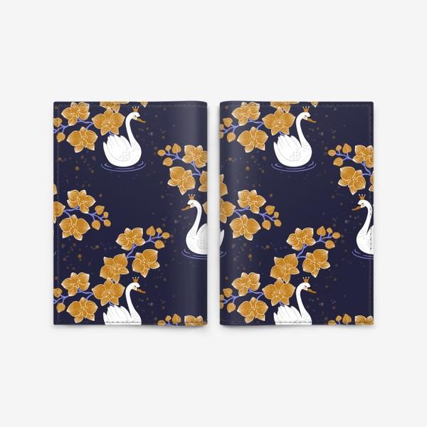 Обложка для паспорта «Лебедь с орхидеей »