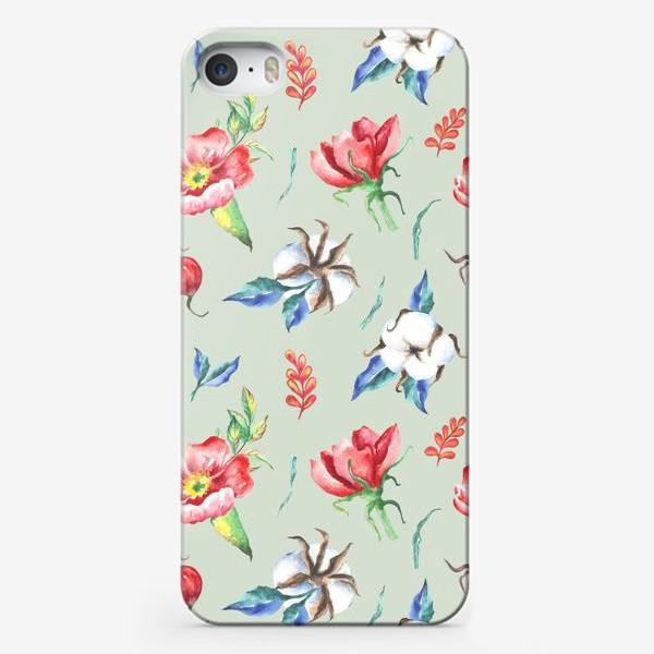 Чехол iPhone «Хлопок и цветы шиповника на салатовом»