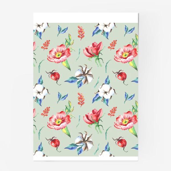 Постер «Хлопок и цветы шиповника на салатовом»