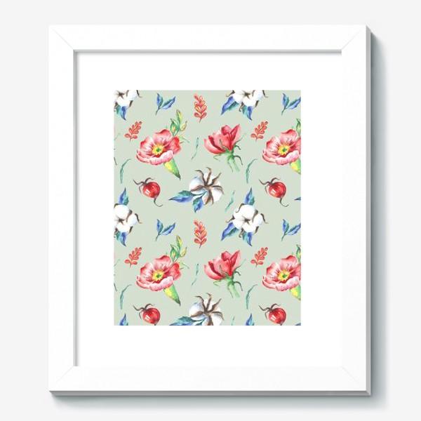 Картина «Хлопок и цветы шиповника на салатовом»