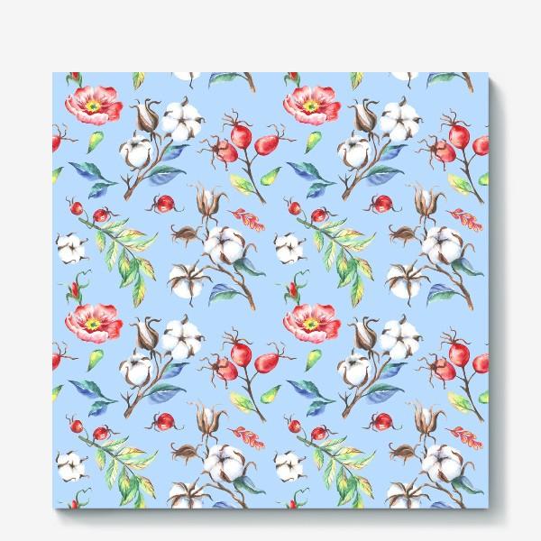 Холст «Хлопок и цветы шиповника на голубом»