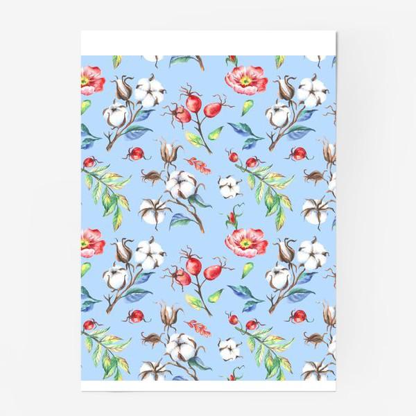 Постер «Хлопок и цветы шиповника на голубом»