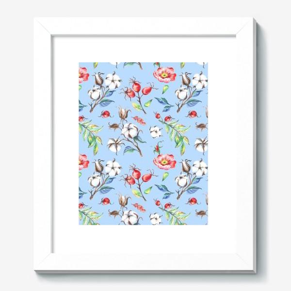 Картина «Хлопок и цветы шиповника на голубом»