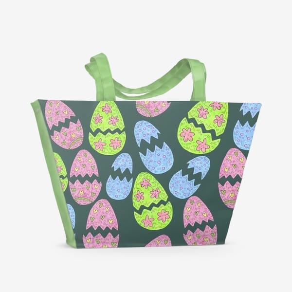 Пляжная сумка «Узор с пасхальными яйцами»
