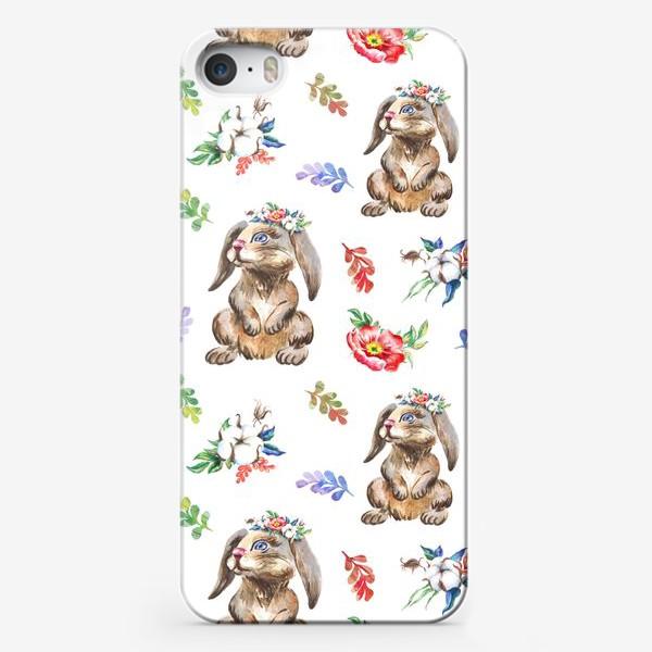 Чехол iPhone «Зайчики, хлопок и цветы, акварельный паттерн»