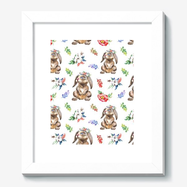 Картина «Зайчики, хлопок и цветы, акварельный паттерн»