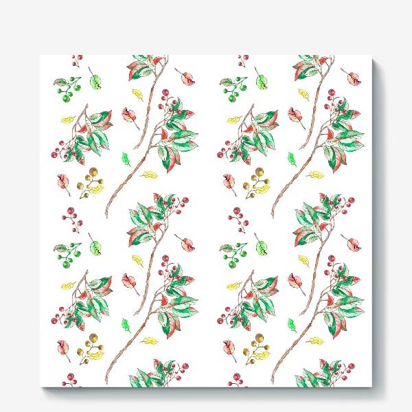 Холст «Акварельные осенние листья и ягоды 10»