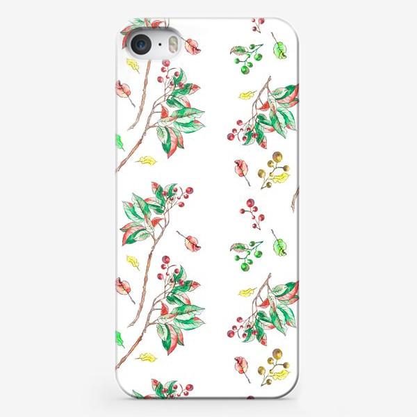 Чехол iPhone «Акварельные осенние листья и ягоды 10»