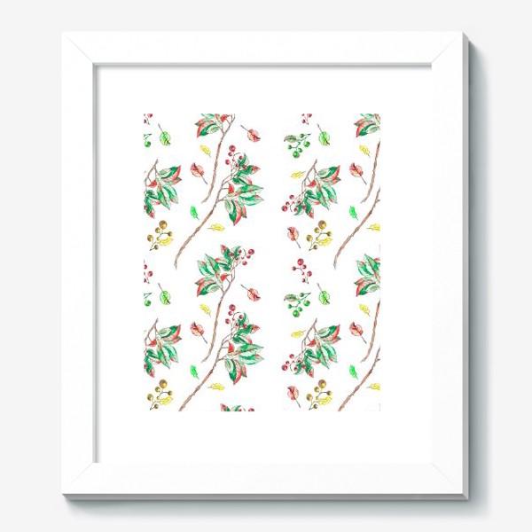 Картина «Акварельные осенние листья и ягоды 10»