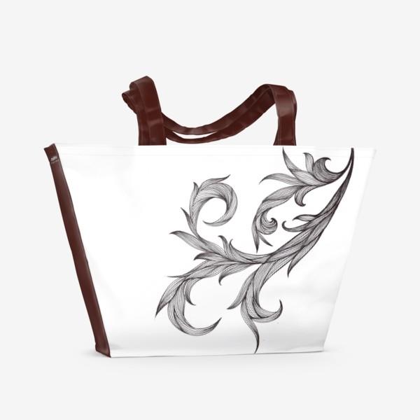 Пляжная сумка «Линии природы черная графика завитки»