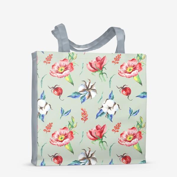 Сумка-шоппер «Хлопок и цветы шиповника на салатовом»
