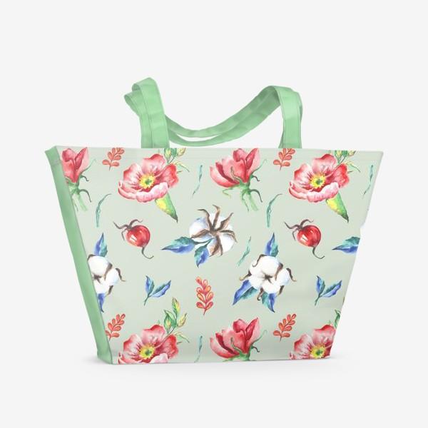 Пляжная сумка «Хлопок и цветы шиповника на салатовом»
