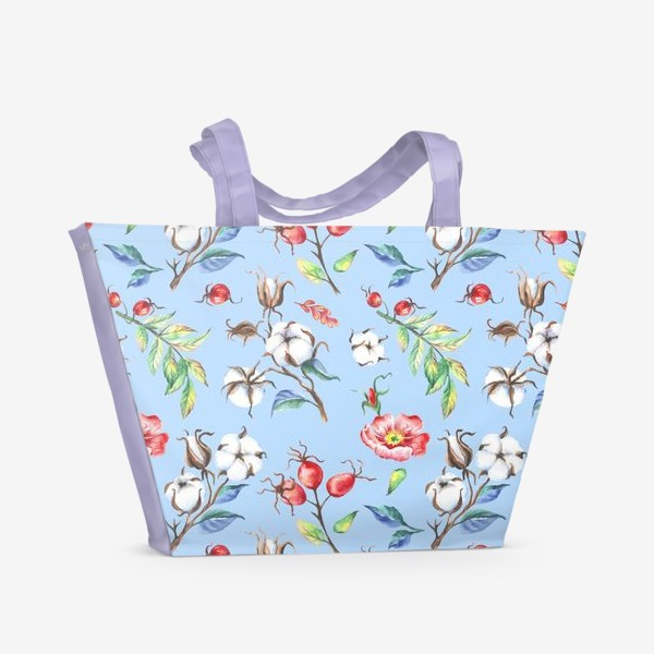Пляжная сумка «Хлопок и цветы шиповника на голубом»