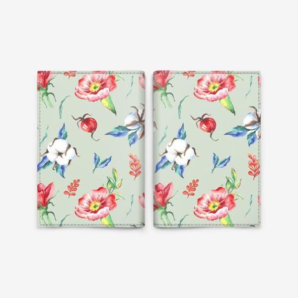 Обложка для паспорта «Хлопок и цветы шиповника на салатовом»